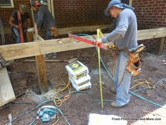 Learn how to build steps for your porch or deck using an instructional guide, video and tips. We show you how it's done so you can assess your own skills and to see what is involved in the step building process How To Build Porch Steps, Deck Steps, Front Porch Stairs, Front Deck, Wooden Steps, Wooden Diy, Building A Porch, In The Heights