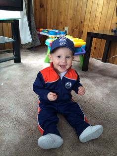 This is my nephew Ladainian, he just turned one and this is his birthday outfit! Our little #Oilers fan! - Maggie Okanee