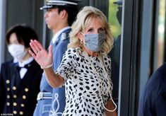 Jill Biden throws her support behind Team USA at Tokyo Olympics opening ceremony | Daily Mail Online Allison Schmitt, First Lady Of America, Olympics Opening Ceremony, American Athletes, Jill Biden, French President, White Polka Dot Dress, Tokyo Olympics, Team Usa