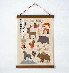 Waldtiere, Poster A3 von VIERUNDFÜNFZIG PAPETERIE auf DaWanda.com
