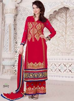 Blooming Red Embroidery Work Pakistani Dress