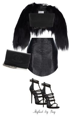 """""""What's worse, looking jealous or crazy?"""" by fashionsetss ❤ liked on Polyvore featuring Maison Margiela, Balmain, Giuseppe Zanotti, Chanel and black"""