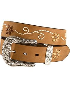 Nocona Women's Floral Stitched Leather Belt Brown Medium Made by #Nocona Boots Color #Brown. Distressed Brown Leather Belt With Feminine Floral Stitching Detail. Accenting rhinestones at center of flowers. Fancy silver-tone two-piece buckle set