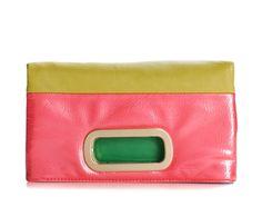 Poppie Jones Color Block Flap Clutch