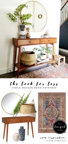 LOOK FOR LESS 3 Designer Inspired Modern Boho Entryways under 570 each using only Target products Boho-chic bohemian decor modern boho entryway midcentury console Interior inspiration Crave Interiors bohochic targetstyle Quirky Home Decor, Modern Decor, Diy Home Decor, Modern Bohemian Decor, Homemade Home Decor, Modern Hippie, Modern Coastal, Modern Country, Decoration Bedroom