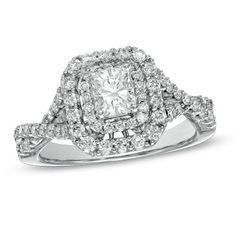 1.25 CT. T.W. Certified Radiant-Cut Diamond Double Frame Engagement Ring in 14K White Gold (H-I/I1)