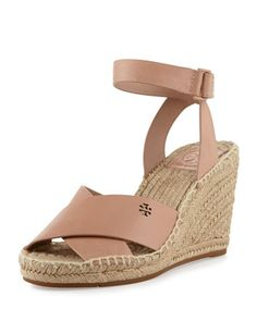 Bima+Leather+Wedge+Espadrille+Sandal,+Makeup+by+Tory+Burch+at+Neiman+Marcus.