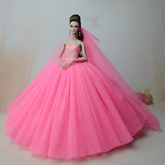 65c786888231 Dresses One-Piece For Barbie Doll Rose Pink Dress For Girl s Doll Toy 2018 -