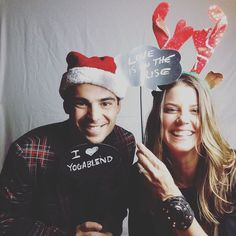 """Look at these two cuties spreading the love at the #yogablend holiday party tonight! . Join @christymarsden & @bencaroncreates tomorrow for """"WELLSPRING""""A 4-Part Journey through Yoga Live Music Sound Healing and Ecstatic Movement. $30 call or visit www.yogablend.com to sign up   Sunday Dec. 11th from 3:30-6PMARRIVAL PERIOD FROM 3-3:30PM (NO LATE ADMISSION) Presented in collaboration with Be Well Inc. and YogaBlend """"WELLSPRING"""" is a radically restorative workshop combining elements of yoga…"""
