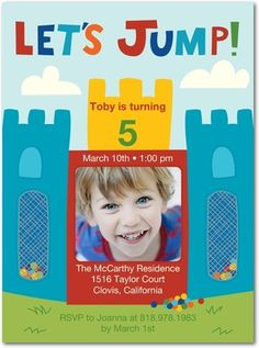 Bouncy Castle - Birthday Party Invitations in Lightest Turquoise Create Birthday Card, Make Birthday Invitations, Personalized Birthday Invitations, Unique Invitations, Invites, Castle Party, Bouncy Castle, 4th Birthday Parties, Birthday Ideas