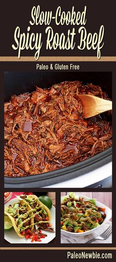 Fall-apart-good slow-cooked spicy roast beef…perfect for just about anything! Shred for tacos or a salad – see recipe links. #paleo #glutenfree