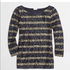 Jcrew sequin strip top NWT. SOLD OUT. Size M Jcrew stripe sequin top NWT. Size M J. Crew Tops Blouses