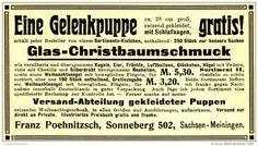 Werbung - Original-Werbung/ Anzeige 1908 - PUPPEN / CHRISTBAUMSCHMUCK / POEHNITZSCH - SONNEBERG (THÜRINGEN) - ca. 110 x 60 mm