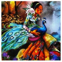 Iyalode Oshun, she walks in beauty and grace with her sacred peacock and lovely flowers.