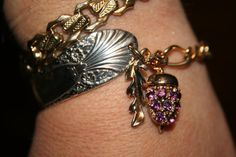 Spoon bracelet with gold tone and silver plate purple by GENICE, $25.00