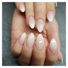 Lilly Nails: Faded French with our Winning Line Acrylics. Made by the... ❤ liked on Polyvore featuring beauty products, nail care and nail treatments
