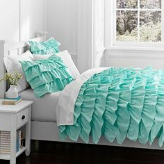WANT SO BAD! Too bad they are now out of stock! :( Rufflicious Quilt + Sham, Light Pool #pbteen