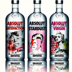 Absolut-ly - Jagger, Bowie, Madonna. Celebrity inspired #Absolut bottle #packaging PD
