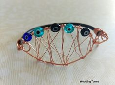 Handmade bracelet with wire, 5 pieces of glass evil eye and leather strap Handmade Bracelets, Cuff Bracelets, Evil Eye, Wire, Eyes, Glass, Gold, Leather, Jewelry
