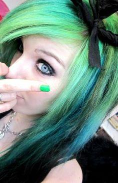 Blue and Green Hair | Ira Vampira scene girl queen germany green black emo hairstyle dark ...