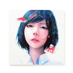 """Popular Japanese artist wataboku continues to attract huge numbers of followers on social networks thanks to his beautiful images of girls in school uniform. This 15.8"""" x 15.8""""  high quality canvas print features his much-loved piece """"Soredemo Sekai wa Nanimo Kawattenakatta""""** (Even so the World Hasn't Changed at All) of a girl with short hair looking straight ahead seemingly underwater with bubbl... #tokyootakumode #artprint"""
