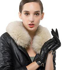 2b1c985273a132 Nappaglo Damen Winter Leder Handschuhe Reines Kaschmir-Futter Warm  Touchscreen Handschuhe (S (Umfang