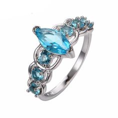 Aquamarine Stone White Gold Ring