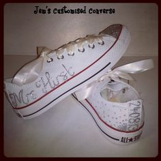 Customised Bride Wedding Converse Available in all sizes, colours and designs x Wedding Tennis Shoes, Wedding Converse, Custom Stuff, Converse Sneakers, Some Ideas, Wedding Bride, Projects To Try, Swag, Basket