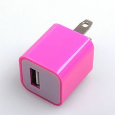 Hot Pink USB Power Adapter Wall Charger For iPhone 4 iPod
