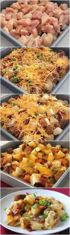 Loaded Chicken and Potatoes Casserole | Jodeze Home and Garden http://jodezehomeandgarden.com/