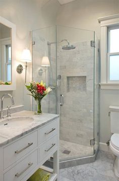 Impressive Tiny Restroom Remodel Ideas - A little bathroom remodel on a budget plan. These cheap bathroom remodel ideas for tiny restrooms are quick and also easy. Cheap Bathroom Remodel, Restroom Remodel, Cheap Bathrooms, Bathroom Renovations, Small Bathrooms, Small Bathroom Showers, Small Full Bathroom, Small Master Bath, Glass Showers