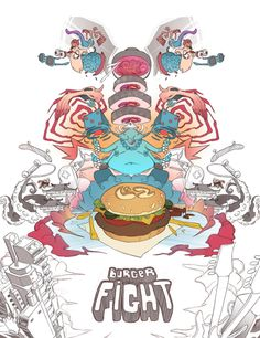 Burger Fight LS2 Helmet by Sergi Brosa, via Behance