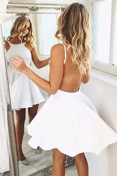 Backless homecoming dresses, Homecoming dresses under Cheap homecoming dresses, A line prom dresses, White homecoming dresses, Dresses for teens - A Line White Backless Sleeveless Halter Satin Sh - Dresses Short, Cheap Dresses, Sexy Dresses, Fashion Dresses, Elegant Dresses, Backless White Dresses, Sleeveless Dresses, Fancy White Dresses, Casual Dresses