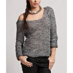 Gray Off Shoulder Knitted Sweater @ Looksgud.in #wintercollection #winterstyle #sweater #fashion