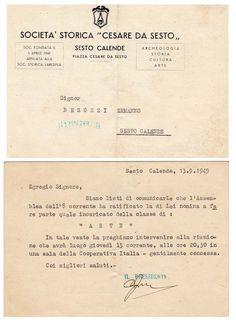 """1949 Nomina di incarico della classe """" ARTE """" da parte della Cesare da Sesto"""