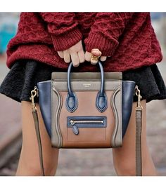 Trending popular street style city Celine mini handbag in taupe, navy blue and beige. Enjoy RUSHWORLD boards, HANDBAG HEAVEN, UNPREDICTABLE WOMEN HAUTE COUTURE and LULU'S FUNHOUSE. Follow RUSHWORLD! We're on the hunt for everything you'll love!