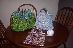 How to Make Plarn, Plastic Bag Yarn. I like the suggestion to knit yarn with the plastic for color and strength.