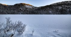Cold Morning by The Frozen Lake - A cold morning by the frozen lake, just as the sun is rising.