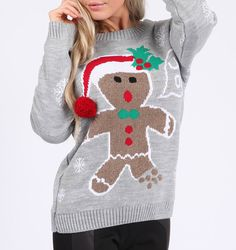 Get the latest ugly gingerbread man sweater for your party.  Ugly sweater for the Christmas party! Collection of Christmas 3D Pom Pom sweaters and Xmas jumpers for both men and women for the ugly sweater party day At uglychristmassweatersale.com  Ugly Christmas sweater, Christmas sweater, party costume, diy Christmas, tacky, funny, cheap ugly sweater