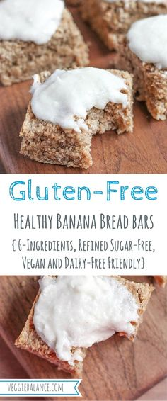 Healthy Banana Bread Bars {6-Ingredients, refined sugar-free, Gluten-free, Vegan and Dairy-Free Friendly}