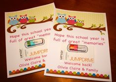 Cute teacher gift! Flash Drive and owl printable