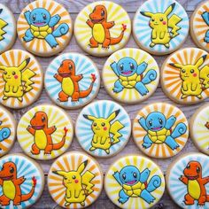 Are you confused in searching for the theme of your children's birthday party? You can make something phenomenal today such as pokemon birthday party ideas. Galletas Cookies, Iced Cookies, Royal Icing Cookies, Sugar Cookies, Pokemon Party, Pokemon Birthday, Cake Works, Pikachu, 6th Birthday Parties