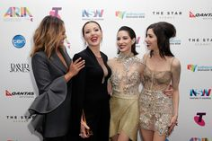Tina Arena poses with The Veronicas and Jessica Mauboy in awards room after being inducted into the ARIA Hall of Fame during the 29th Annual ARIA Awards 2015 at The Star on November 26, 2015 in Sydney, Australia.