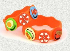 Customizable Food Allergy Bracelets for Kids-and they're silicone/latex free too!