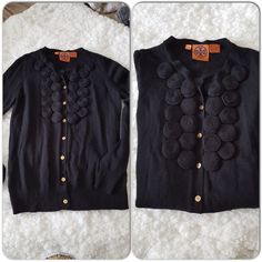 "Tory Burch Cardigan #TB002 Excellent condition cardigan, i took close up picture to show the condition of the wool, like new. Gold TB logo button, one missing button up top. Rose like applique, really cute. Bust 16"", Sleeve 24"", Length 21"" #TB002 Tory Burch Tops"