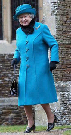 The Queen smiles at church service