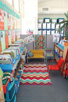 Classroom setup...I like the colors & the book basket storage..