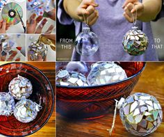 How to make CD Christmas Ornaments diy christmas do it yourself diy projects ornaments christmas ornaments christmas ideas christmas picturesdiy crafts