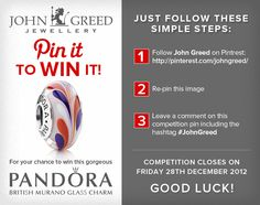 For your chance to win #JohnGreed #Competition goodies, simply follow the steps in the image. Closing date 28/12/12. Important: Your twitter account must be linked to your Pinterest profile! Terms and conditions: http://blog.johngreedjewellery.com/jewellery/competitions/2012/12/pinterested-in-winning-john-greed-goodies/