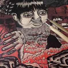'Mire Adentro' for Tourist's Folly portfolio at #sgci2016 #printmaking #linocut #choyland #estudiomitl by killchoy